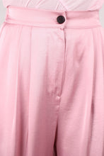 Load image into Gallery viewer, Pale pink satin tucked wide leg trousers_3