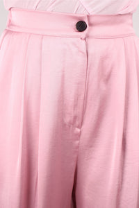 Pale pink satin tucked wide leg trousers_3