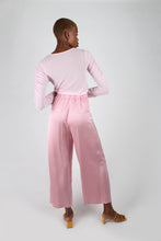 Load image into Gallery viewer, Pale pink satin tucked wide leg trousers_2