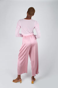 Pale pink satin tucked wide leg trousers_7