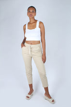 Load image into Gallery viewer, Beige dart front loose fit drawstring trousers_1