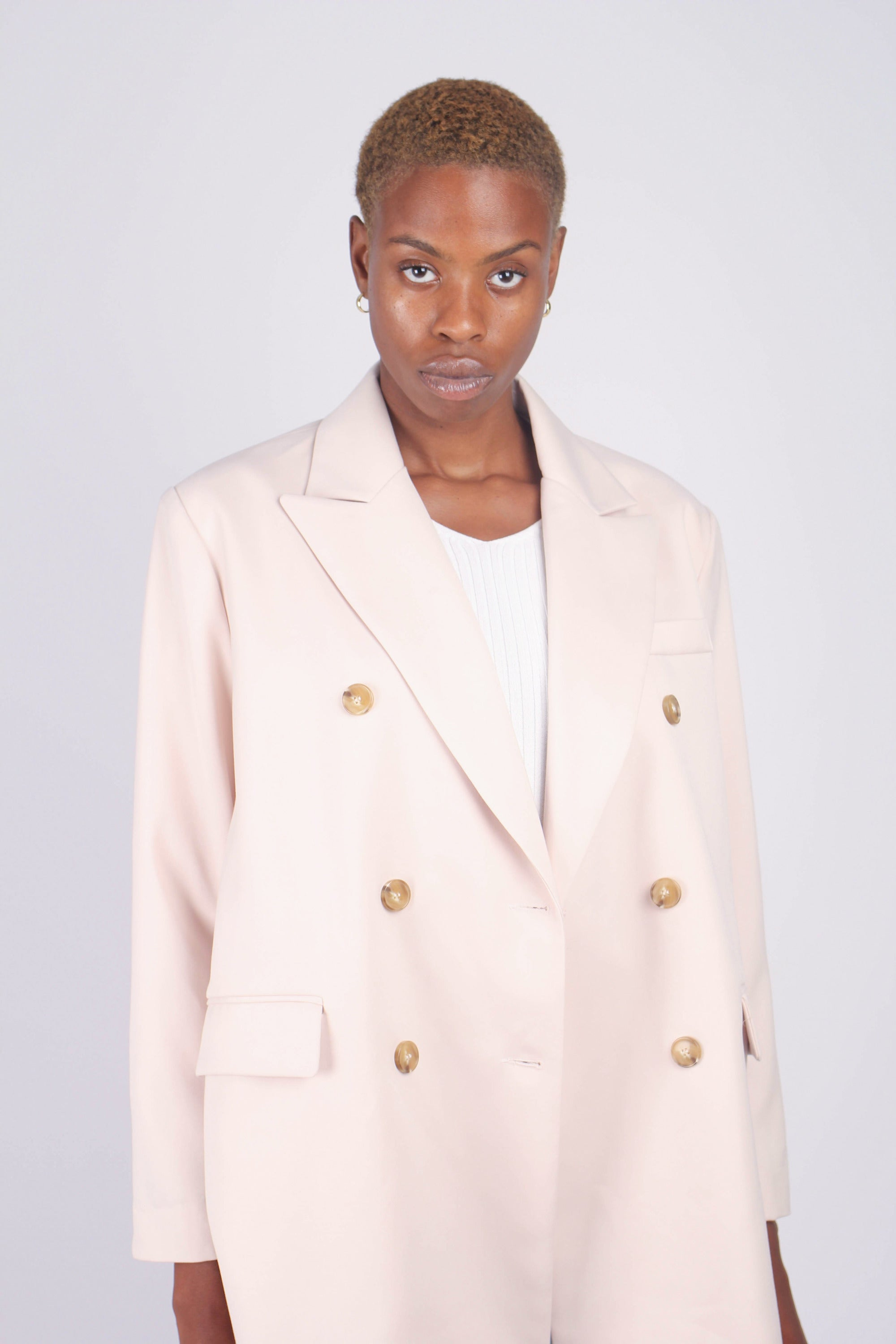 Ivory double breasted half long jacket2