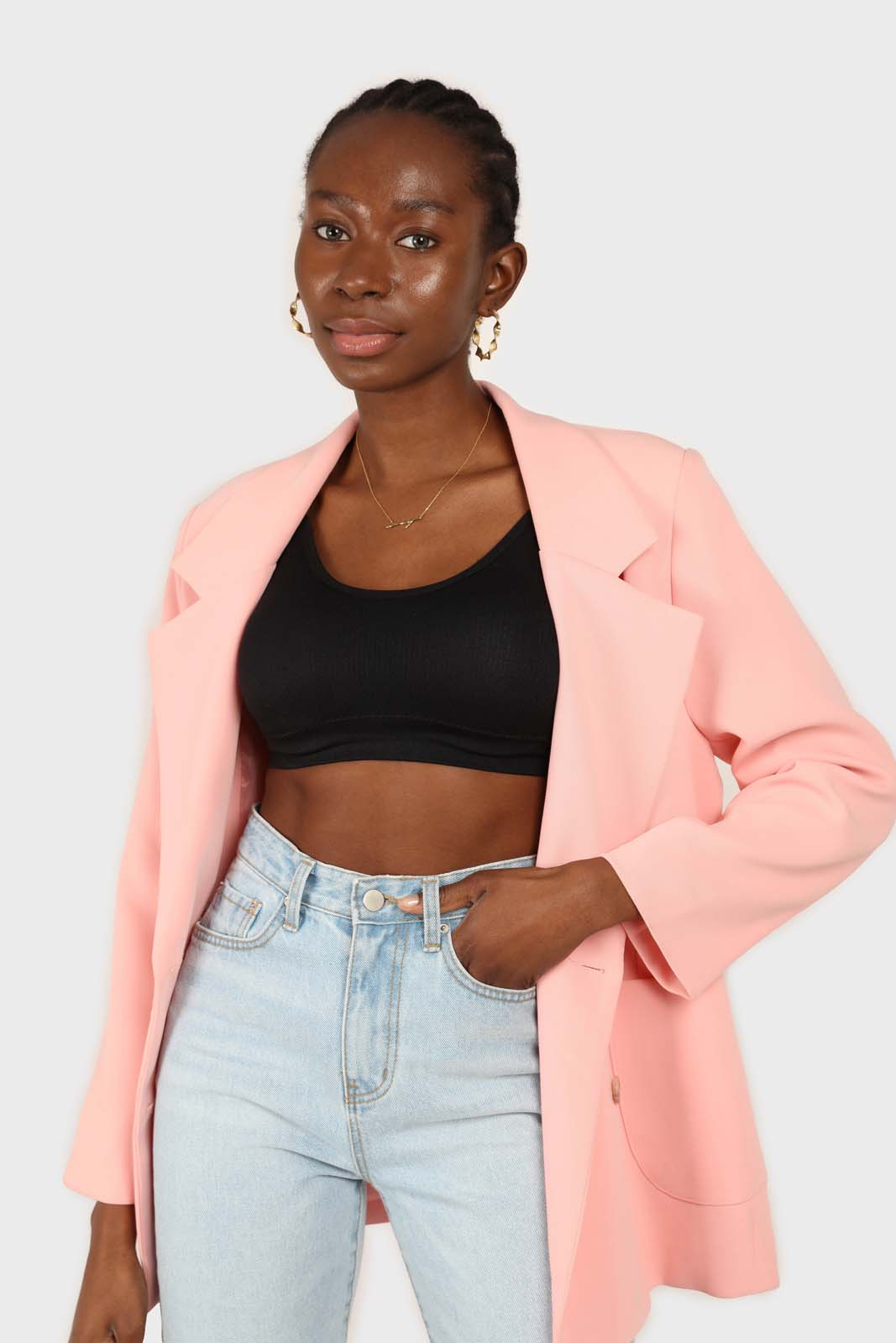 Baby pink belted oversized jacket2