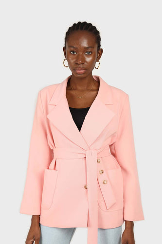 Baby pink belted oversized jacket3