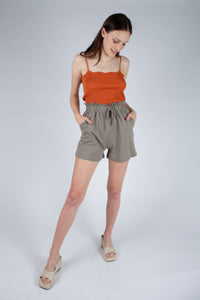 Dusty orange wave trim strappy knit tank_MFFBA1