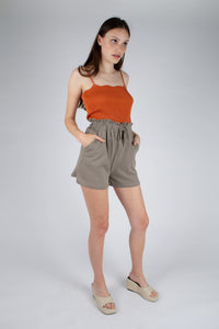 Dusty orange wave trim strappy knit tank_MFFBA2