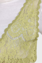 Load image into Gallery viewer, Chartreuse lace deep V-neck tank6