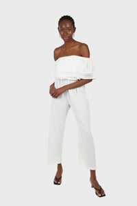 Ivory ruffle off shoulder jumpsuit1sx