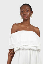 Load image into Gallery viewer, Ivory ruffle off shoulder jumpsuit2