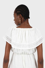 Load image into Gallery viewer, Ivory ruffle off shoulder jumpsuit3