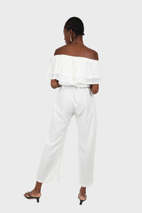 Ivory ruffle off shoulder jumpsuit4