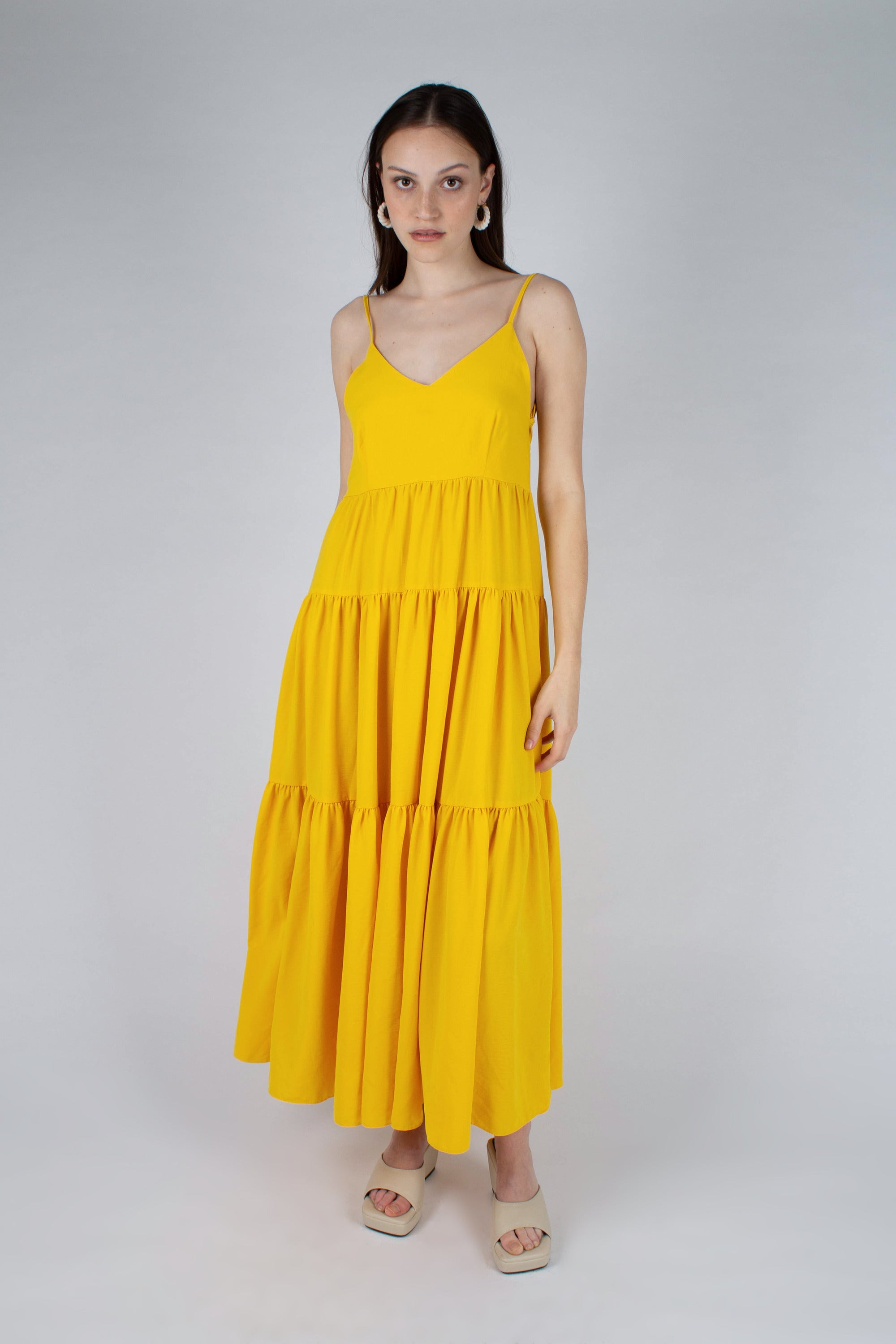 Yellow tiered tie back maxi dress_MFFBA1