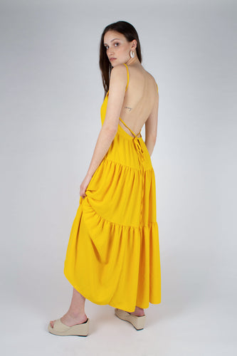 Yellow tiered tie back maxi dress_MFSBA1