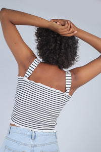 Ivory and black striped frill trim knit tank_MCBBA1