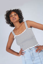 Load image into Gallery viewer, Ivory and black striped frill trim knit tank_MCFBA2