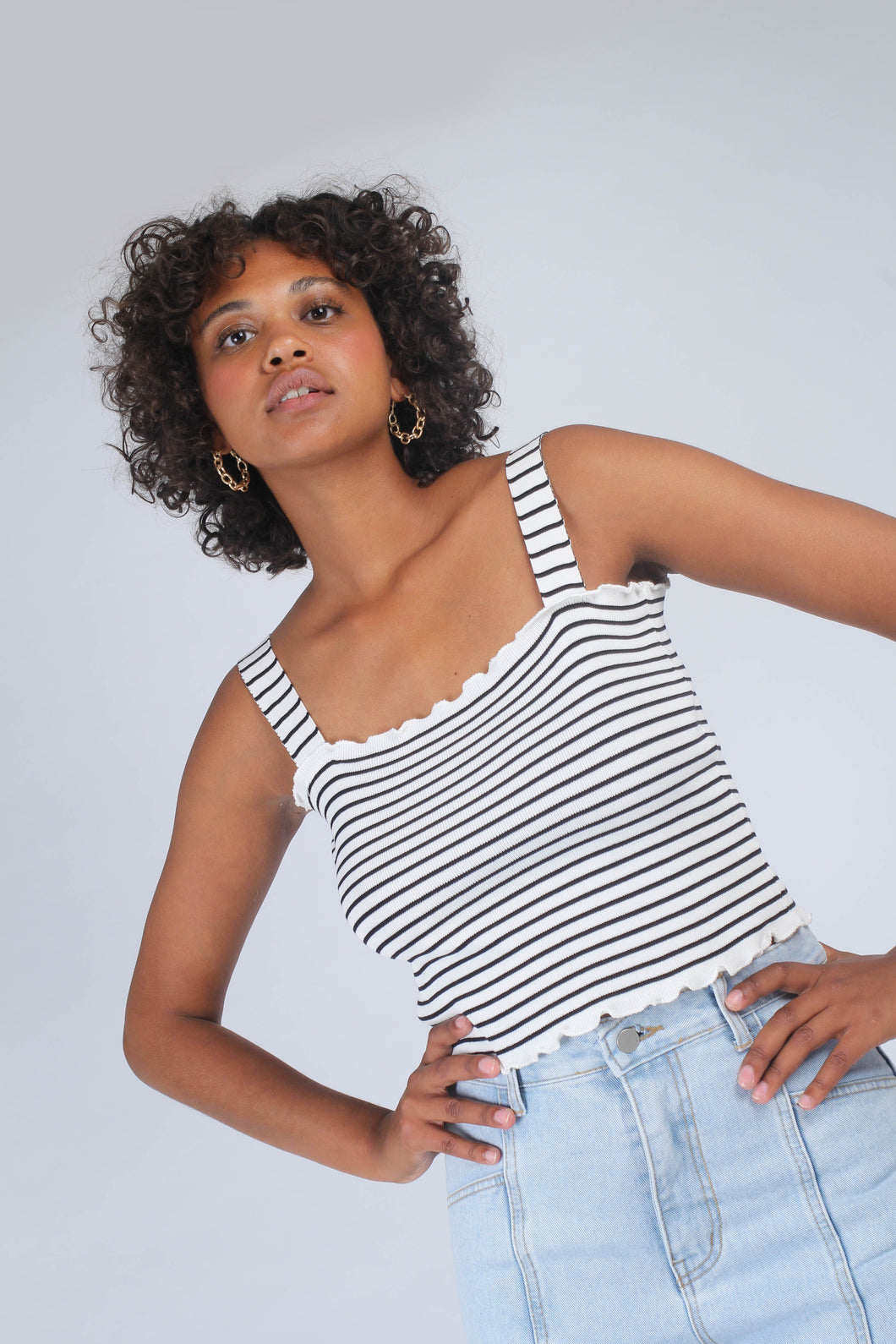 Ivory and black striped frill trim knit tank_MCFBA2