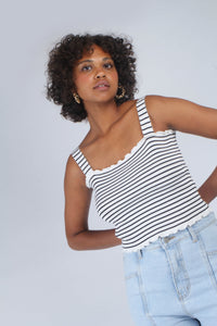 Ivory and black striped frill trim knit tank_MCFBA3