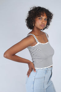 Ivory and black striped frill trim knit tank_MCSBA1
