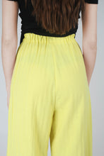 Load image into Gallery viewer, 20770_Bright yellow herringbone linen wide trousers_MCBBA1