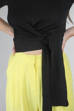 Load image into Gallery viewer, 20770_Bright yellow herringbone linen wide trousers_MCFBA1