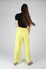 Load image into Gallery viewer, 20770_Bright yellow herringbone linen wide trousers_MFBBA1