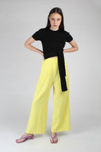 Load image into Gallery viewer, 20770_Bright yellow herringbone linen wide trousers_MFFBA1