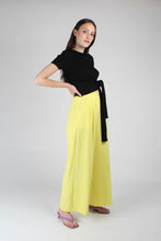 Load image into Gallery viewer, 20770_Bright yellow herringbone linen wide trousers_MFSBA1