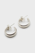 Load image into Gallery viewer, Silver thick hoop glossy earrings - 15mm1sx