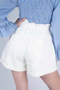 White button up ruched waist shorts_MCBBA1