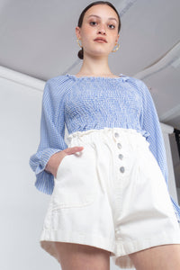 White button up ruched waist shorts_MCFBA2