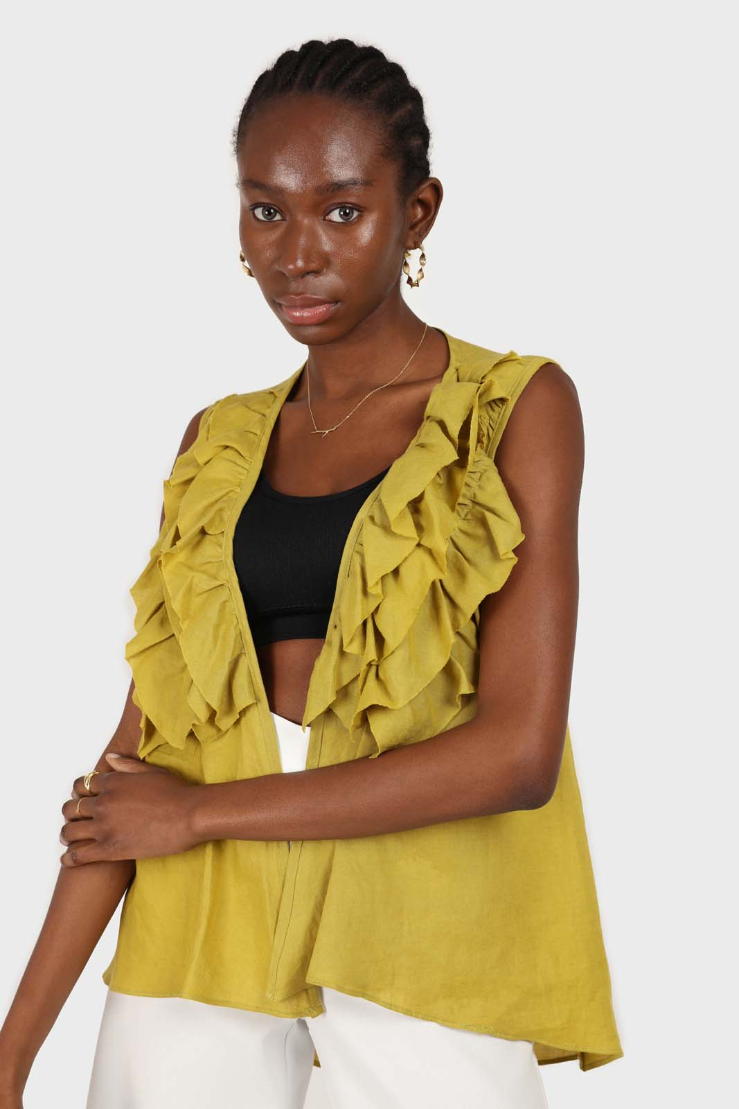 Green linen layered ruffle sleeveless wrap top1sx