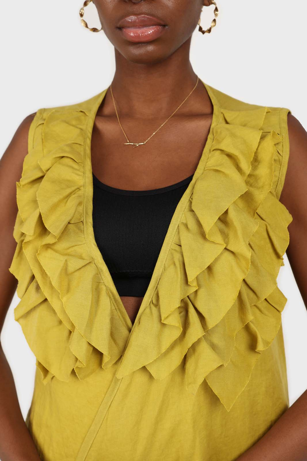 Green linen layered ruffle sleeveless wrap top4