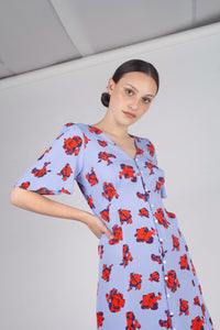 Pale blue and red floral print short sleeved maxi dress_MCFBA1