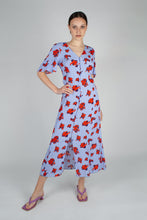 Load image into Gallery viewer, Pale blue and red floral print short sleeved maxi dress_MFFBA1