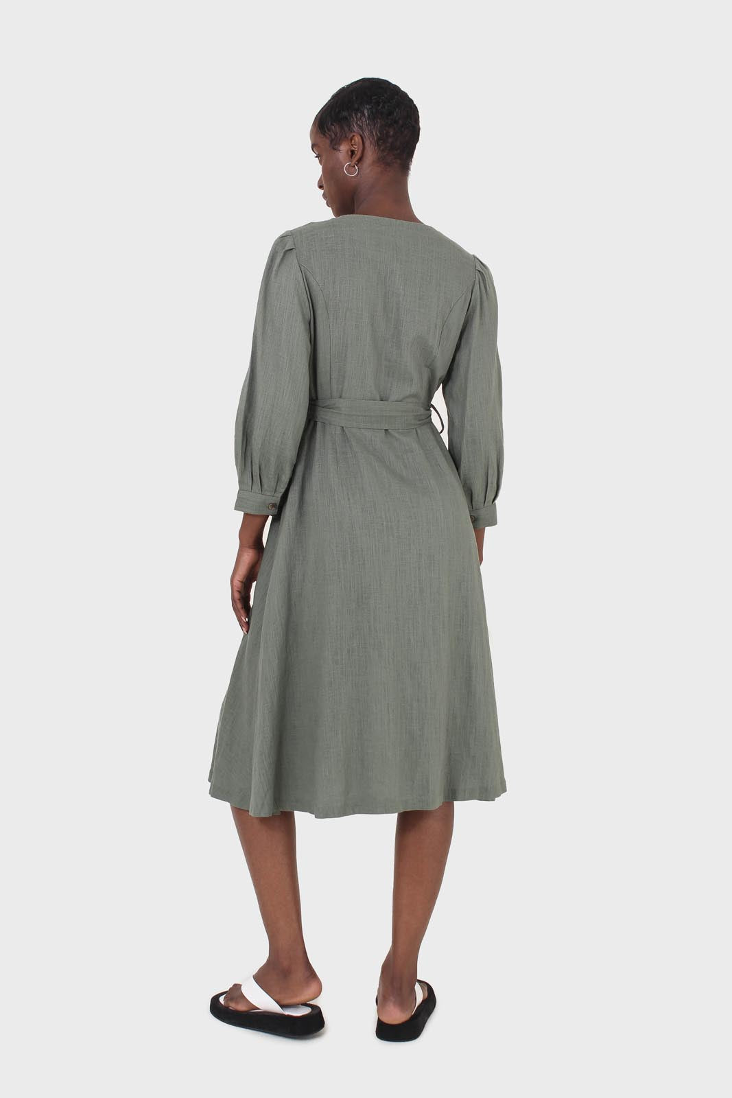 Khaki V-neck button front belted linen dress 3
