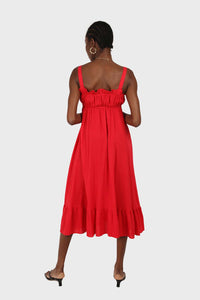 Red tie front ruffle maxi dress 1