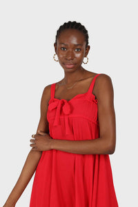 Red tie front ruffle maxi dress 2