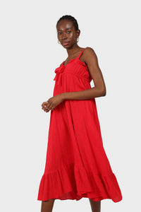 Red tie front ruffle maxi dress 3