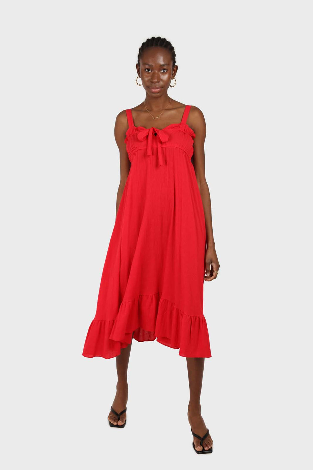 Red tie front ruffle maxi dress SX
