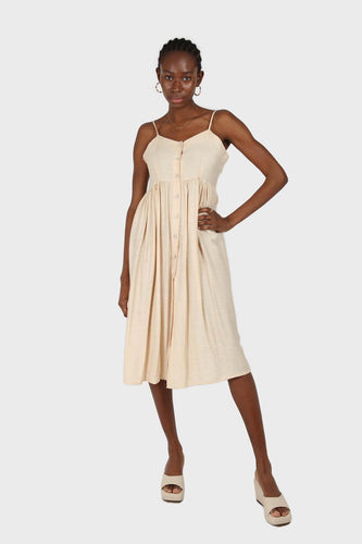 Beige button up thin strap dress SX