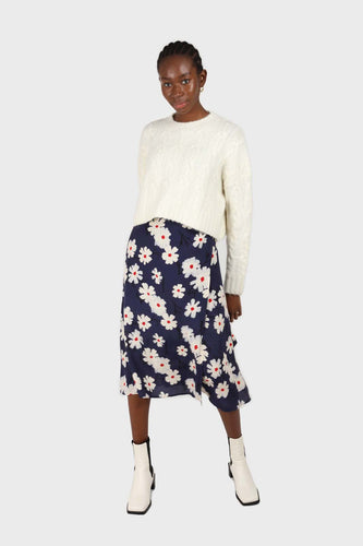 Bright blue and white floral wrap midi skirt1sx