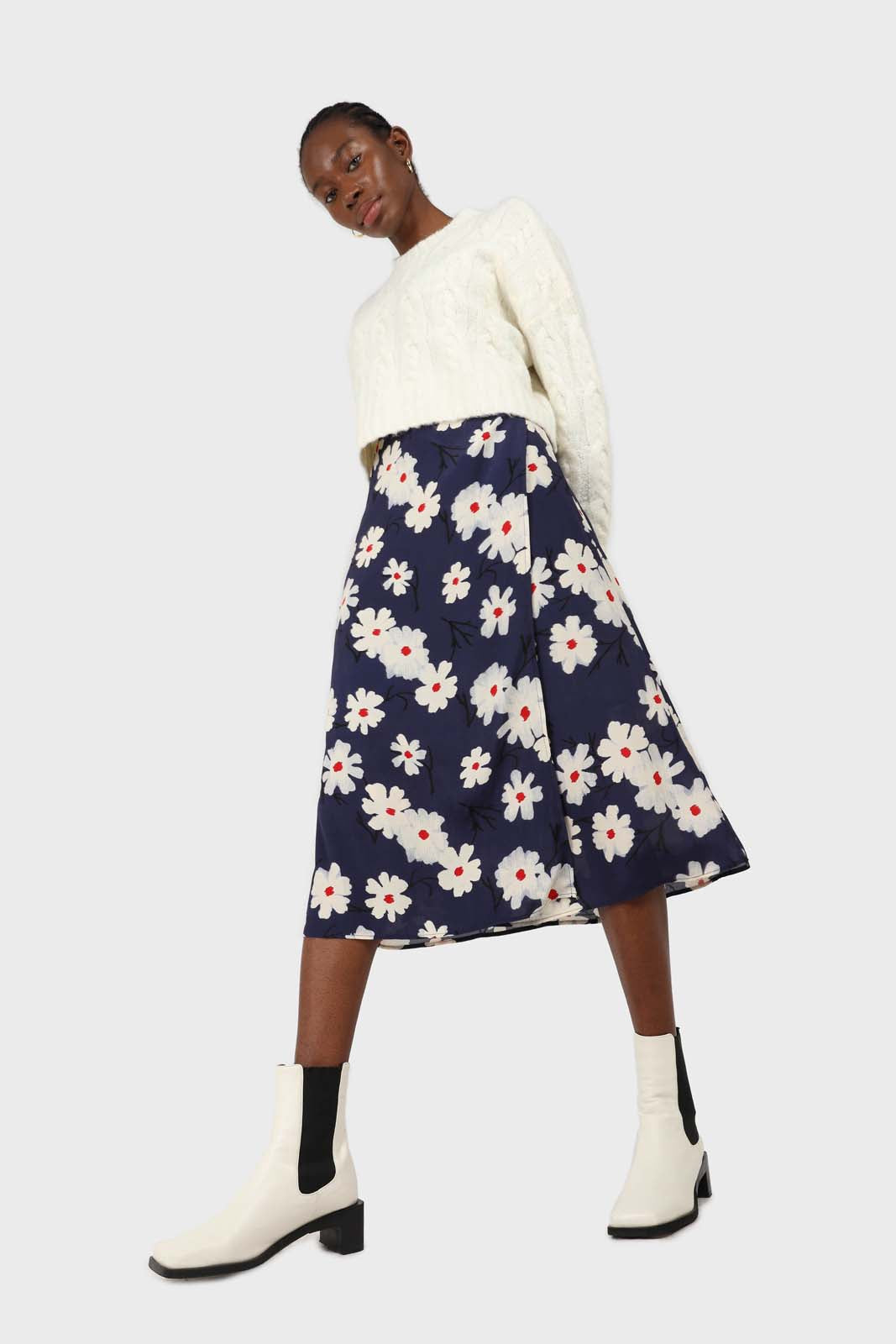 Bright blue and white floral wrap midi skirt2