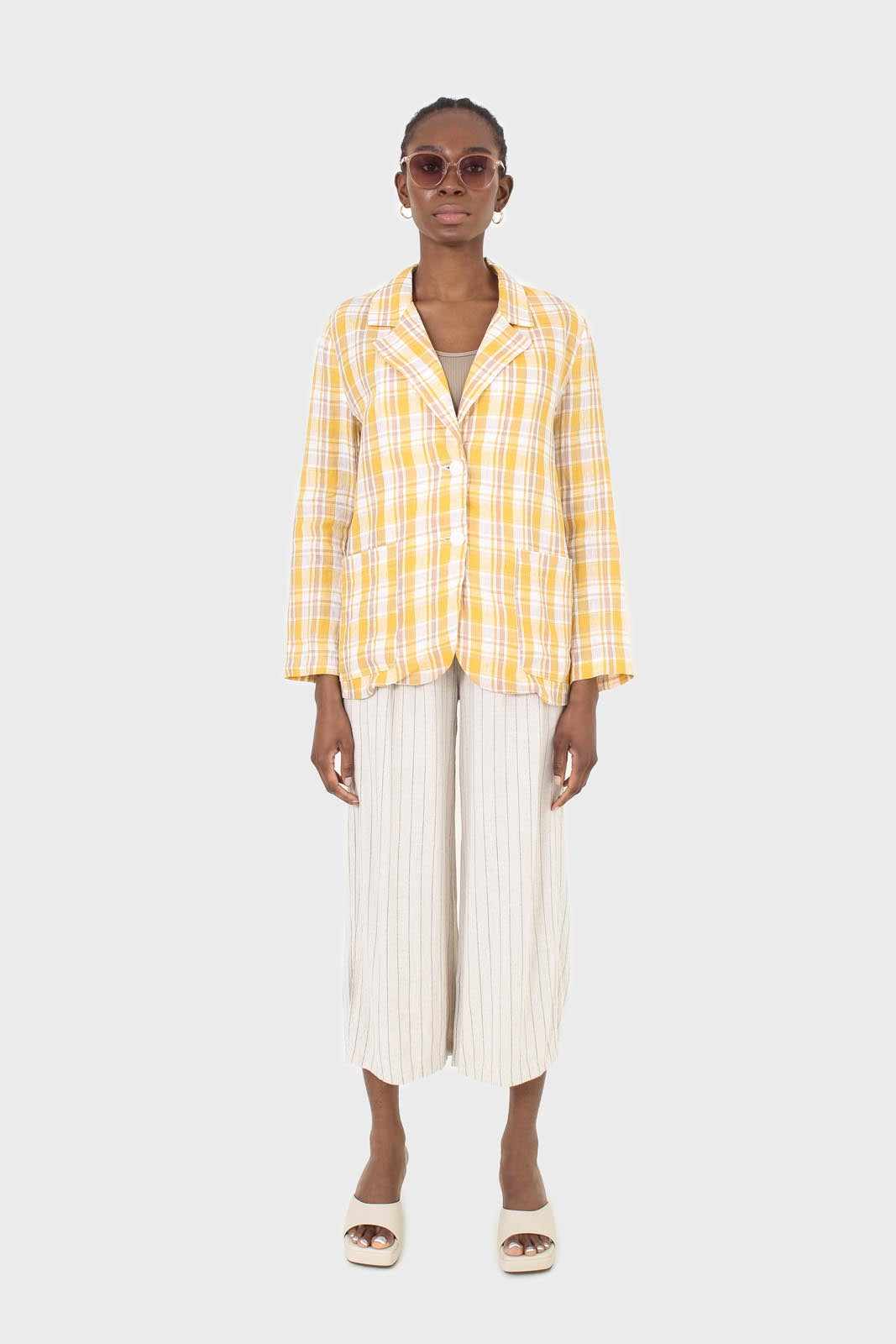 Yellow and brown checked linen blazer1