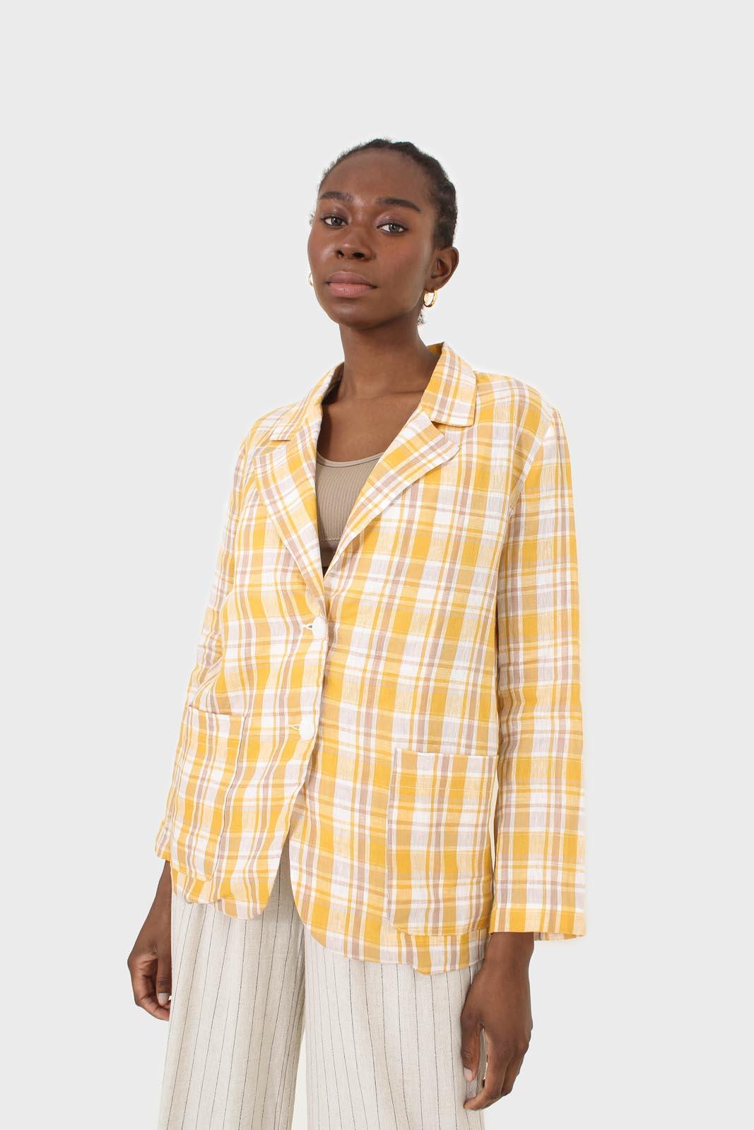 Yellow and brown checked linen blazer10