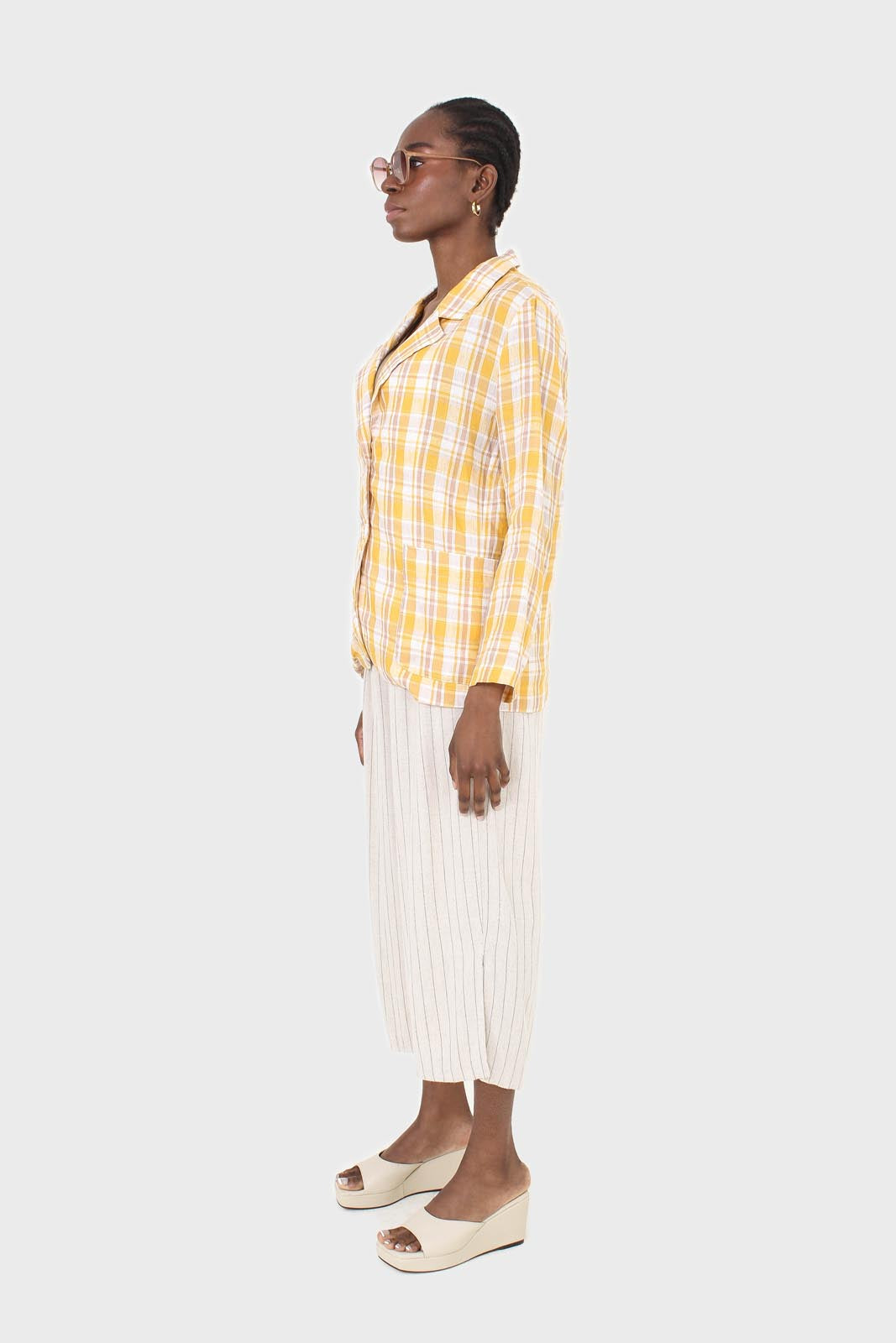 Yellow and brown checked linen blazer2