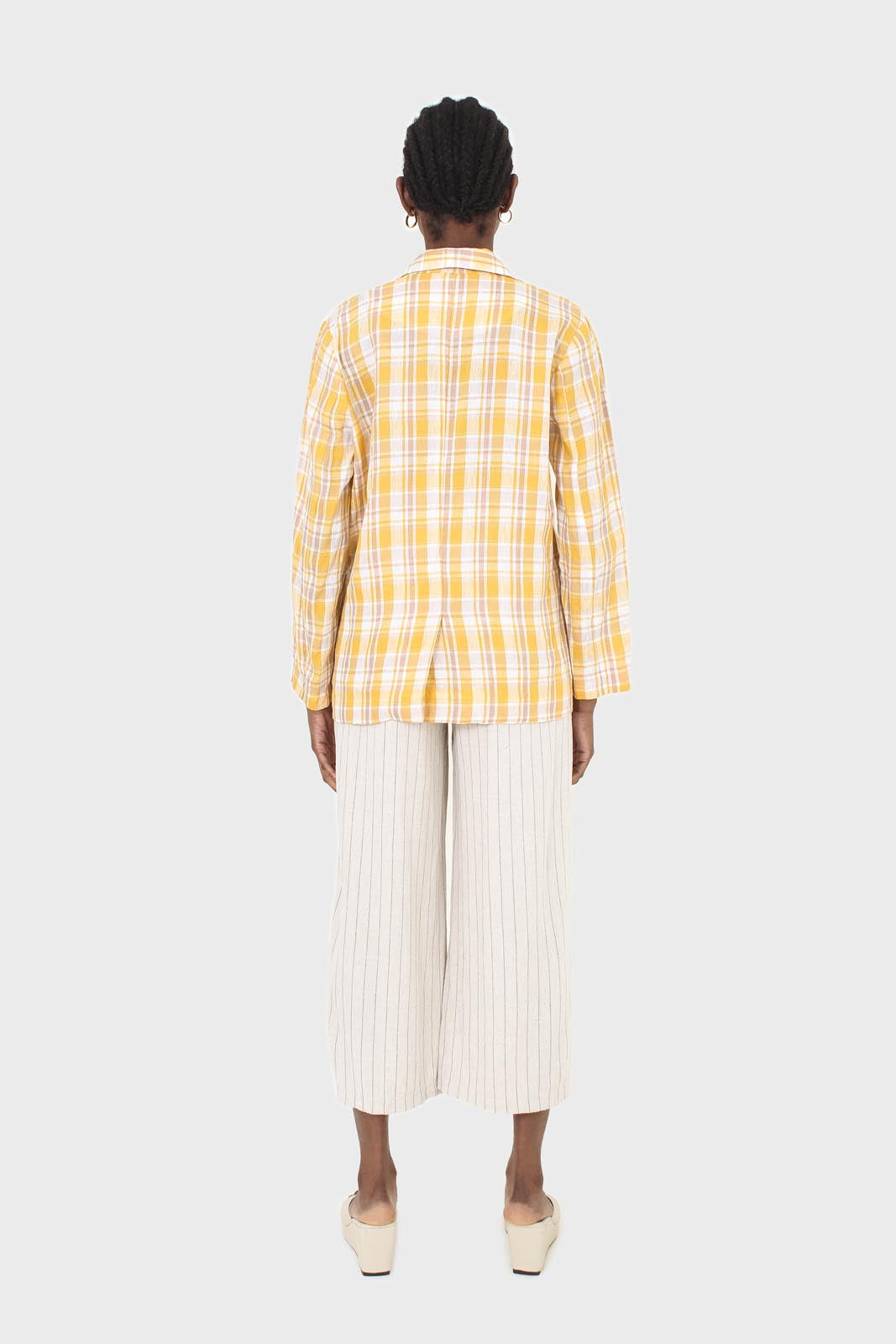 Yellow and brown checked linen blazer3