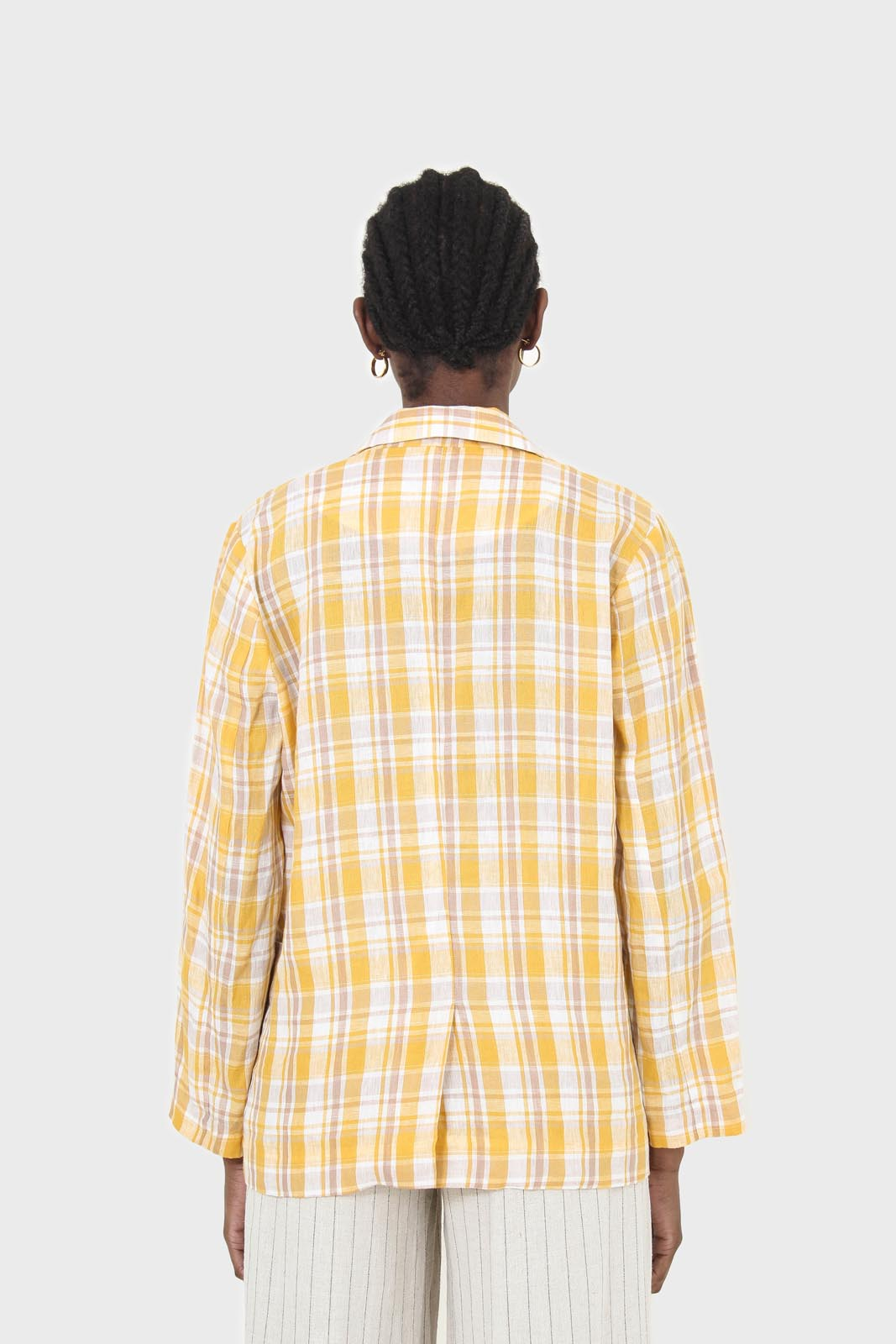 Yellow and brown checked linen blazer4