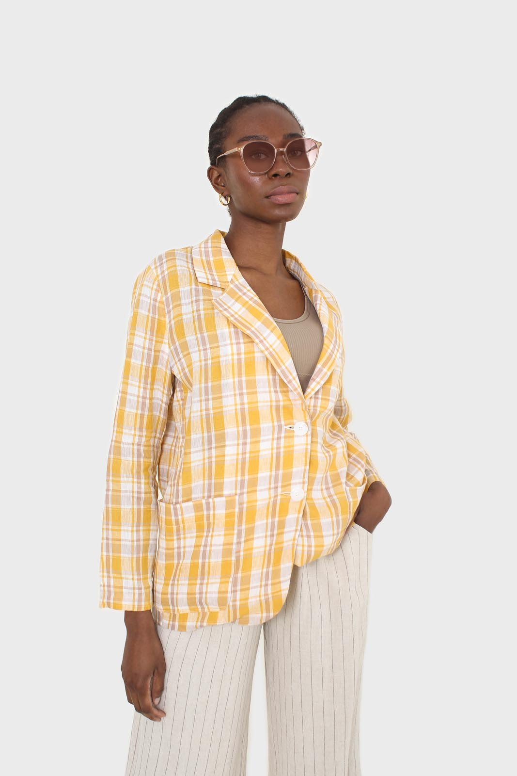 Yellow and brown checked linen blazer5