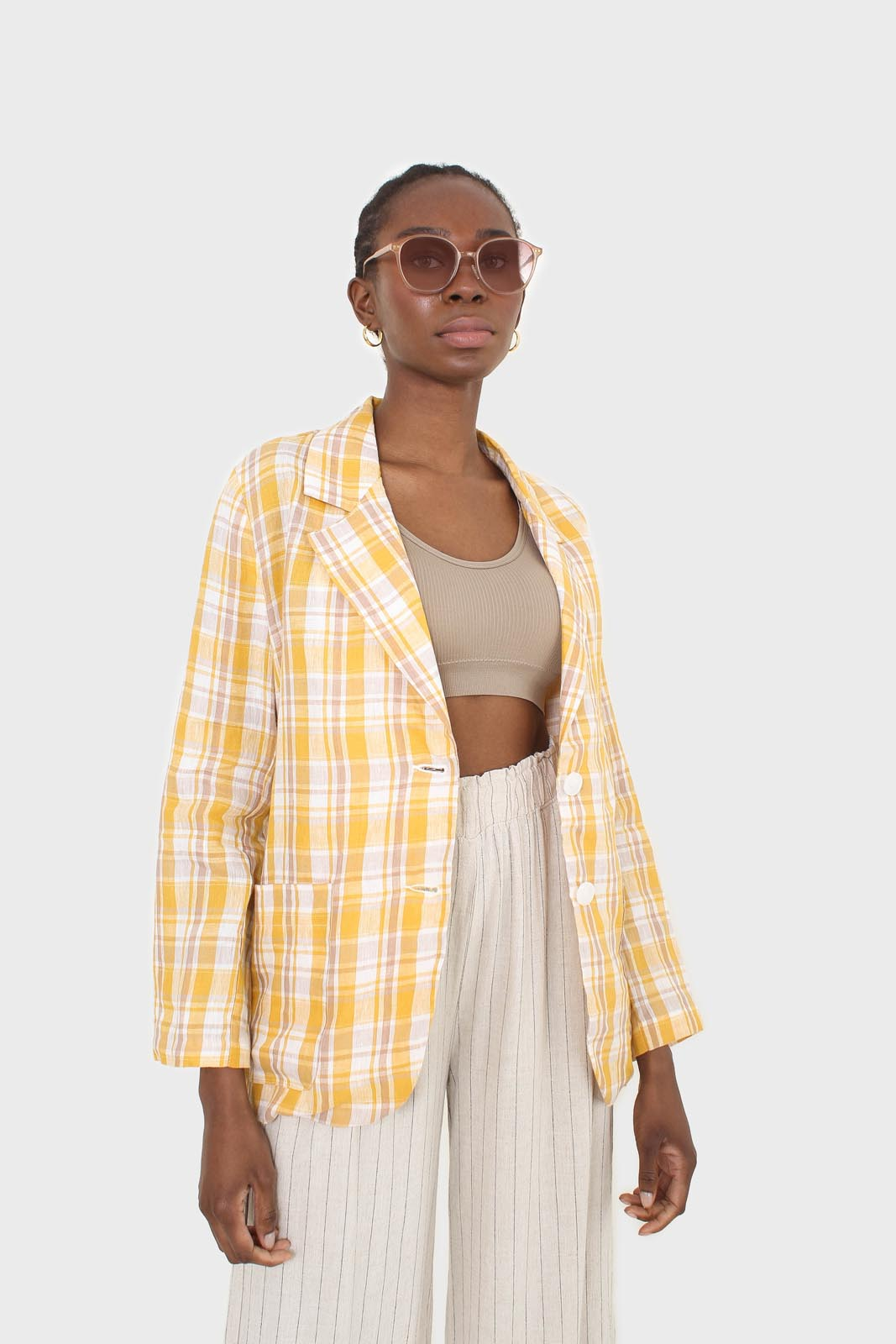 Yellow and brown checked linen blazer7
