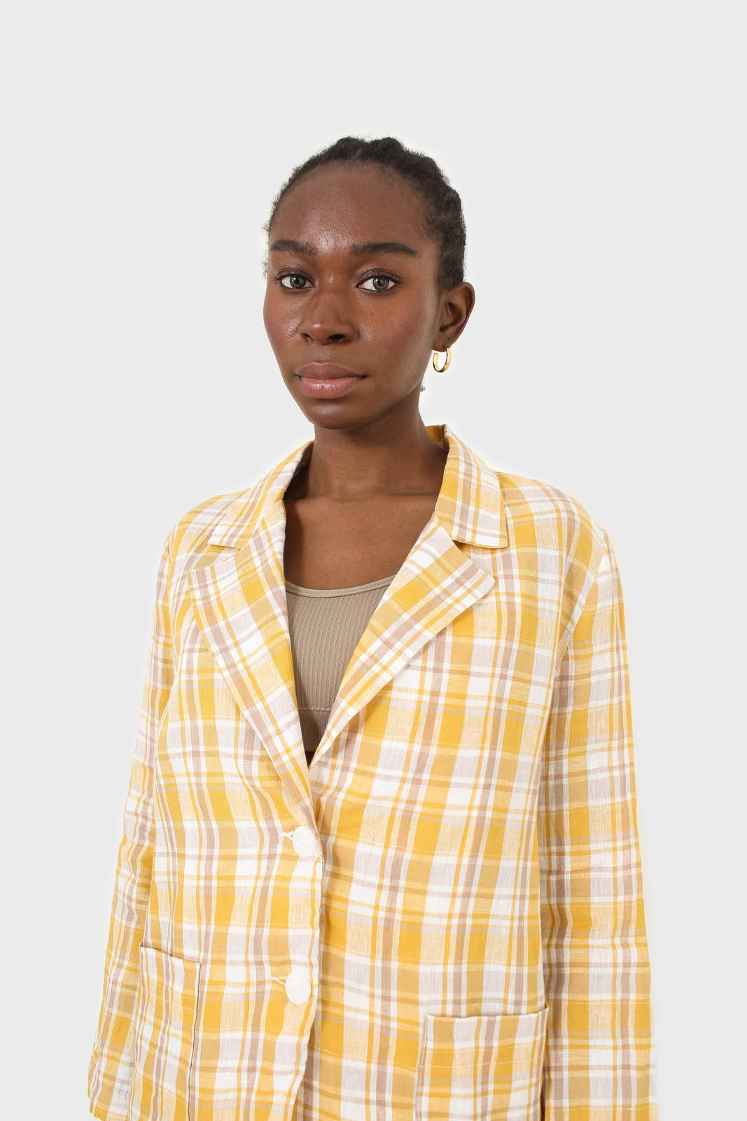 Yellow and brown checked linen blazer9